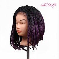 Perucas para mulheres negras Ombre Roxo Crochet 3S Caixa de trança curta Bob Sintética Lace dianteira peruca Natural preto / roxo resistente ao calor Obkgp