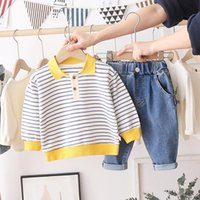 Clothing Sets Baby Boys Girls 2021 Spring Stripe T Shirt Jeans Toddler Infant Casual Clothes Children Kids Costume
