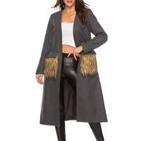 Lady Solid Long Wool Coat Women Plush Pocket Long Sleeve Elegant Office Work Jacket Female Casual Basic Coat Women ZHL7891
