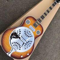 6 Strings Dobro Gitar Kore Uydurma, Hofner Modeli, Sunburst Üst, Süper Su Dalgalanma Geri, Rezonatör Çelik Metal Top Mini Humbucker