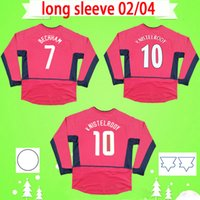 Long sleeve Manchester United 2002 2003 2004 남자 복고풍 UTD 축구 유니폼 02 03 04 빈티지 클래식 축구 셔츠 베컴 van nistelrooy