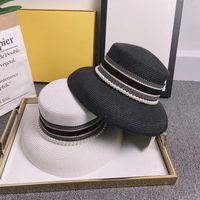المرأة واسعة بريم القبعات الكلاسيكية المألوف لؤلؤة القابلة للإزالة قبعة حزام سيدة الصيف المنسوجة قبعات القش الأزياء