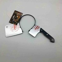 Scary Halloween Head Bands ZOMBIE HEADBAND Hairband Costume Bloody Axe Threading Kitchen Knife Scissor Injector in The Head Fancy Dress Cosplay Parry Props G80TAGV