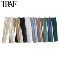 TRAF Mulheres Chic Moda Escritório Desgaste Calças Retas Vintage Cintura Alta Zíper Fly Feminino Calças Mujer 210608