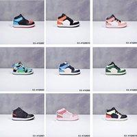 Kind Sneakers am Basketballschuhe der Kinder Rose Patch Digital Rosa Metallic Gold 1s Kinder Junge Mädchen Sneaker Kleinkinder Neugeborene Baby Trainer Kinder Schuh