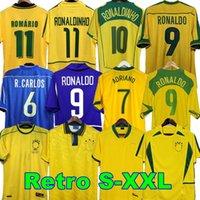 1998 Brasil 축구 유니폼 2002 레트로 셔츠 Carlos Romario Ronaldo Ronaldinho 2004 Camisa de Futebol 1994 Brazils 2006 1982 Rivaldo Adriano 1988 2000 1957