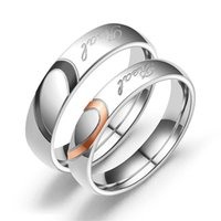 His And Hers Stainless Steel Heart Shape Matching Set Ring Real Love Valentine Couples Wedding Band Rings For