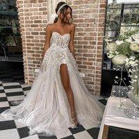 Strapless Split 레이스 라인 웨딩 드레스 스윕 기차 레이스 업 백슐루 플러스 사이즈 비치 신부 가운