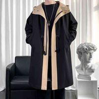 Men's Jackets Jaqueta corta-vento masculina, casaco longo de outona solto, com capuz, vintage, preto, roupa agasalho casual para h