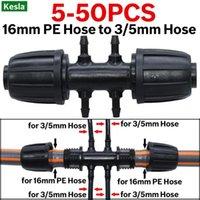 Wyposażenie podlewania Kesla 10 SZTUK 16mm do 3 / 5mm złącze rurowe Adapter adaptera wodnego 6-way Pe PE 1/8 cali Micro Wąż Połączenie Jo