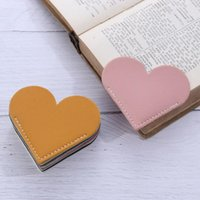 Bookmark Mini Handmade Vintage Candy Color Book Page Clip Leather Love Heart Corner Protective Cover