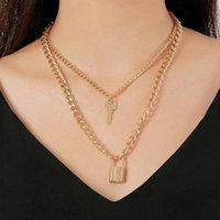 Pendant Necklaces Key Lock Necklace Punk Thick Chain Double Layer For Women Jewelry Hip Hop & Pendants SCF1213