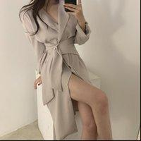 Ol nazik minimalist sonbahar bayan elbiseler iş elbisesi yaka zarif dantel up katı kısa seksi şık gevşek kadın