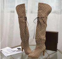 럭셔리 탑 디자이너 부츠 9cm 하이힐 캔버스 신발 여성 24 인치 크기 35-42 상자