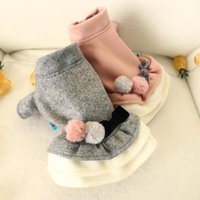 Dog Apparel Lady Bow-knot Dress Small Winter Thickening Woolen Clothes Princess Skirt With Double Colored Fluffy Balls And Bowknot