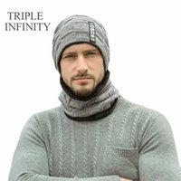 Mützen Triple Infinity Herren Winter Beanie Hüte Schal Set Winddicht Warme Strickmütze Schädelkappe Neckwärmer Dicke Fleece gesäumt Mann