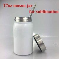 Sublimation blanche Mason Jar à double mur 17oz Botte en acier inoxydable meuble avec pavillon de paille café de bière à jus de bière sous vide