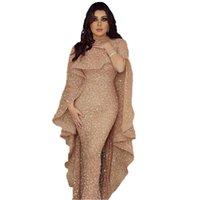 Hohe Qualität Luxus Meerjungfrau Arabisch Lange Abendkleider Juwel Hals Pailletten Bodenlangen Mittlerer Osten Prom Abendkleid