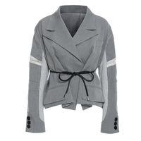 Женские костюмы Blazers LISCN 2021 High Street Gook Women Осень и зимний дизайн мода короткое зашлока серый Blazer