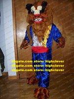 Vivace bestia bestia mascotte costume mascotte raumtier animale selvatico adulto con bianchi denti affilato blues vestiti No.773 nave libera