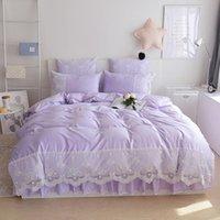 Bedding Sets Light Purple Cotton Silk Queen King Tribute Duvet Cover Bed Skirt Pillowcases 4pcs Princess Lace Bedclothes