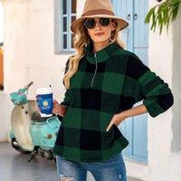Women's Hoodies & Sweatshirts Women Fluffy Coat Winter Sweatshirt Zipper Pocket Fleece Woman Pullover Plaid Polar Warm Jackets Long Sleeve F