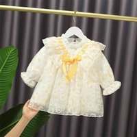 Baby Flower Dress Sweet Spring Autumn Infant Clothing Kid's Princess Cute Bowknot Patchwork Ruffled For Girls 12M 210625