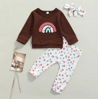 Set neonato neonato neonata Rainbow Stampato a maniche lunghe Top Pantaloni Pantaloni Abiti Abiti Abbigliamento Set Autunno Abbigliamento invernale