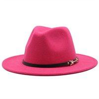 fedora hat women men formal dress solid belt classic simple autumn winter hats women black red wide brim jazz caps new felt hats