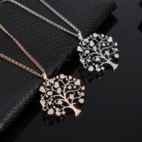 Big Love Heart Tree Of Life Pendant Long Necklace Stainless Steel Sweater Chain Womens Necklaces Silver Plated Jewelry 2021