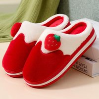 Slippers Ladies Cotton Cute Home Indoor Shoes Non-slip Thick Bottom Wool Drags, Wearing Warm Plush