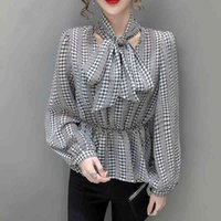 Women's Blouses & Shirts Womens Spring Temperament Plaid Fluttering Chiffon Shirt Female Long-sleeved Bowknots A-line Top DFC6