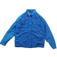 디자이너 Topstoney 2020FW Konng Tong 봄과 가을 새로운 남성용 금속 나일론 다채로운 기술 패브릭 옷깃 코트 멋진 지퍼 자켓