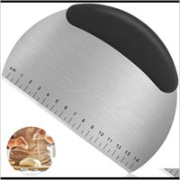 Baking Tools Stainless Steel Scraper Pastry Pizza Cutter Chopper Handle And Measuring Scale With 1 Pcs Plastic Dough Aud Kve3Z