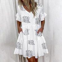 Skirts Casual Ruffles Loose V-Neck Dress Women Summer Short Sleeve Floral Print Woman Plus Size 2021 Fashion White Beach Dresses