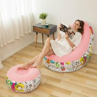 Life Vest & Buoy Folding Inflatable Bean Bag Sofa Chair Lazy With Pedal Recliner Outdoor Leisure Bed Pile Coating Thickened Comfortable