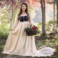 Off Ombro Maxi Medieval Renascimento Mulheres Vestidos Vintage Slash Pescoço Cintura Alta Cosplay Princesa Princesa Party