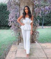 2020 الصيف المرأة الجديدة المرأة ضمادة بيضاء بذلة مثير حمالة هادئة منزعج بذلة أزياء المشاهير نادي أنيق