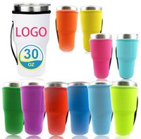Solid Color Reusable Ice Coffee Cup Sleeve Handle Neoprene Insulated Water Bottle Mug Cover Holder Case Bags Pouch For 30oz 32oz Tumbler Cups Covers SN5522