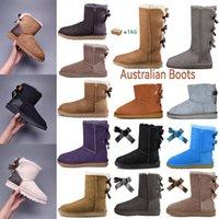 2021 Projektant Kobiety Wgg UG Ugglis Australia Australijskie Buty Zima Śnieg Furry Czarny Granatowy Niebieski Różowy Satynowy Boot Botki Bailey Botki Futro Skórzane Outdoors Bowtie Buty