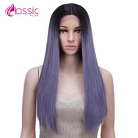 Синтетические парики классические плюс кружевной фронт парик длинный прямой косплей волосы для женщин Оммре белокурый фиолетовый розовый синий зеленый жарие