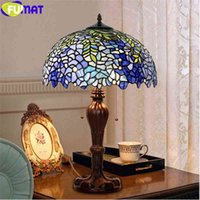 FUMAT 11.11 Sale Tiffany Style Wisteria Home Decor Table Lamps Stainded Glass Art Desk Light Blue 8 12 16 20 Inch Shade Antique
