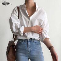 Damenhemd Klassische Chiffon Bluse Weibliche Einfache Stil Tops Kleidung Plus Größe Lose Langarmshirts Lady Blusas 9700 Blusen