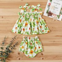 Summer Lovely Baby Girls Clothes Sets 0 3y Flowers Print Sleeveless Vest Dress Tops Shorts 2pcs