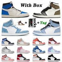 С Box Jumpman 1 Баскетбольная обувь 1S женщин людей Милан Mid Чикаго Toe High Dark Mocha сатинИорданияРетро розовый Бесстрашный кроссовки