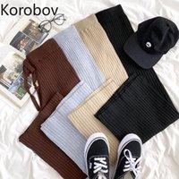 Korobov Coreano Mulheres Malhas Calças Vintage Estilo Preppy Style Elásticos Largura Perna 2021 Chic Streetwear Calças Casuais Capris das Mulheres