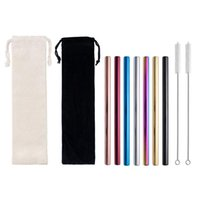 Drinking Straws 1set Stainless Steel 12mm Caliber Multicolor Pearl Milk Tea Boba Straw Set With Cleaning Brush Bar Accessories
