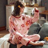 Pliktea Kadınlar Pamuk Pijama Set Karikatür Homewear Kadın Ev Giysileri Lounge Uzun Kollu Kadın Pijama Pamuklu Pijama Giymek