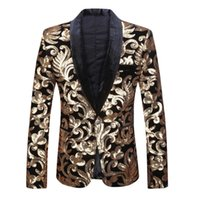 Fashion Mens Black Hot Sell Shawl Lapel Floral Sequins Velvet Slim Fit Blazer Stage Performance Wedding Suit Jacket Men Blazer Q0602