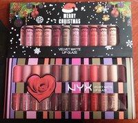 Mais novo nyx veludo mate labial esmalte creme feliz natal set 12 cores luxo veludo batom mate maquiagem lipgloss